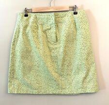 Talbots Green Print Unlined Skirt Size 14 (4308)