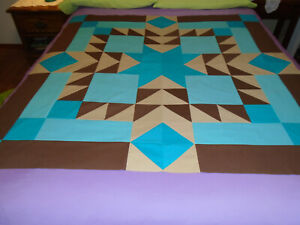"""new quilt TOP unfinished AZTEC STAR """"Clear Waters"""" 48.75"""" Turquoise/Aqua/Brown"""