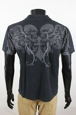 Affliction Mens Black SS Polo Shirt Size Large L