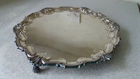 LOVELY VINTAGE SILVER PLATED DRINKS SERVING TRAY - 10 1/2 INCHES DIAMETER