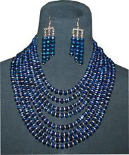 Cocktail Jewelry, Romantic Bijouterie, Necklace & Earrings Set, Color Navy Blue
