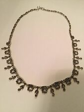 Vintage/Antique 925 Sterling Silver Necklace With Marcasite Stones