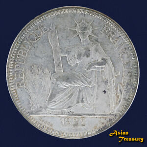1922 FRENCH INDOCHINA 1 PIASTRE SILVER CROWN COIN EF VIETNAM LAOS CAMBODIA