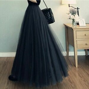 Women Long Tulle Pleated Skirt Mesh Pettiskirt Bouffant 3 Layers Maxi Midi Dress