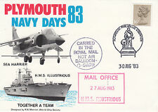 HMS Illustrious Plymouth 83 Navy Days Carried Balloon Mail  30 Aug 83