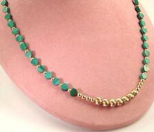 """Gold Filled Beads Necklace 19"""" Nwot Green Malachite Gemstone Hearts and 14K"""