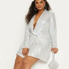 Pretty Little Thing PLT PLUS Size SILVER SEQUIN BLAZER DRESS sz xl sz 16