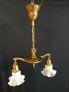 2 Arm Brass Pan Light Fixture Chandelier
