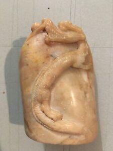 Chinois naturel shoushan pierre sculpture dragon sceau cachet timbre