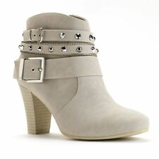 Womens JENNIFER LOPEZ Studded Dress High Heel Ankle Boot Booties NATURAL sz 5
