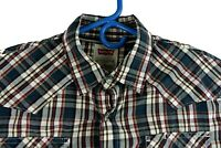 Levis Mens Western Shirt Plaid Size Small Long Sleeve Button Front Pearl Snap
