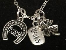 """Western Horseshoe, Lucky & 4 Leaf Clover Charm Tibetan Silver 18"""" Necklace A"""