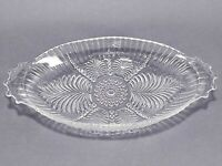 Vintage Clear Pressed Glass Bubble and Fern Relish Tray