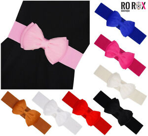 Ro Rox 50's Vintage Retro Pin-Up Wide Stretch Elasticated Satin Bow Belt UK 6-18