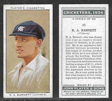 PLAYERS 1934 CRICKETERS B.A.BARNETT Card No 35 of 50 CRICKET CIGARETTE CARD