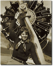 Amelia Earhart with Radial Engine - Remastered 8 x 10 Photo (Sepia)