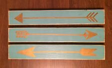 Set of 3 Wooden Arrows Signs Plaques Rustic Vintage Chic Pick Color Hand Painted