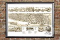 Vintage Racine, WI Map 1883 - Historic Wisconsin Art - Old Victorian Industrial