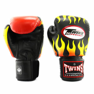 Twins FBGVL3-7 Fire Flame Leather Boxing Gloves Muay Thai Kick Sparring Mitts