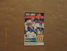 NHL Les Canadiens Vintage Circa 1987-1988 Hockey Logo Pocket Schedule