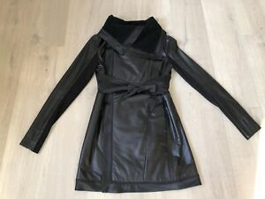 Alexander McQueen Leather Polyester Coat Black Women Size S