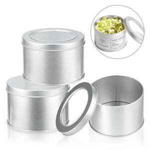 90x60mm Round Tins With Lid Food Snack Storage Cookie Candy Tin Box 1/6/12Pcs 5