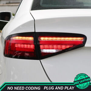 New For Audi A4 LED Taillights 2013-2017 Red LED Rear Lamps Dynamic