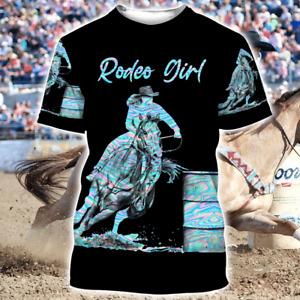 Barrel Racing T-Shirt Cowboy Rodeo Girl Racer Sports Riding Rider Hologram Shirt