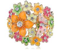 Fascinating Pastel Spring Enamel Multi-Color Butterfly Flower Cluster Bracelet