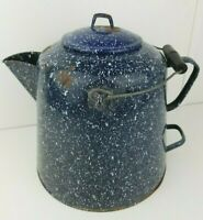 "VTG Large Enamelware Speckled Navy Blue Coffee Pot Cowboy Camp Kettle 11.5"" tall"
