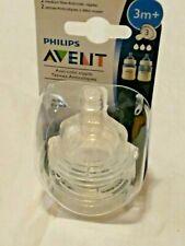 Avent Classic+ Clear Silicone Nipple Medium Flow 3+ mos BPA Free Philips 2 pk