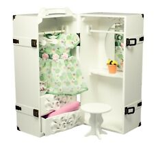"""FACTORY 2ND WOOD STORAGE TRUNK VANITY Case Furniture Fit 18"""" American Girl Doll"""