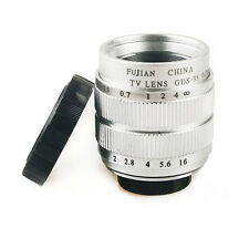 "Silver 35mm f1.7 2/3"" CCTV Lens C mount for M4/3 GF7 E-PL7 NEX 5 7 A6000 A5000"