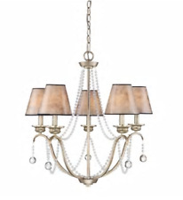 Quoizel Jenna 5-Light Gold French Country/Cottage Glass Bead Ceiling Chandelier