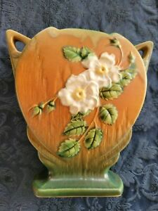 Roseville Pottery Vintage White Flowered with Green/Brown Antique Vase 984-8