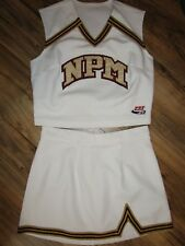 Authentic White Metallic Gold Maroon Cheerleader Uniform Outfit Choose Size