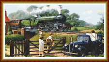 "'TRAINSPOTTING' Cross Stitch Pattern (18""x9½"") Steam Train/Detailed/DMC symbols"