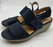 Collection By CLARKS Sz 8 Wedge Sandals Blue Soft Cushion Open Toe $99