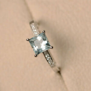 14K White Gold Natural Diamond 1.40 Ct Princess Aquamarine Wedding Ring Size N