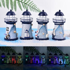 LED Light Metal Lighthouse Anchor Mediterranean Decorative Home Nautical Decor Z