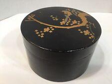 Antique Japanese Round Black Lacquer Ware Box