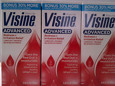 Lot Of 3 Visine Advanced Redness + Irritation Relief Eye Drops Bonus Size