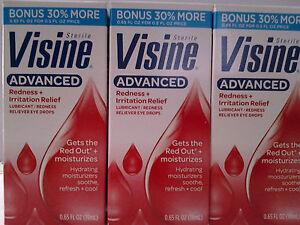 Lot Of 3 Visine Advanced Redness + Irritation Relief Eye Drops Bonus Size