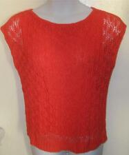 GORGEOUS EVAN PICONE misses sz LARGE L orange tangerine weave fishnet top j113