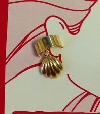 Vtg 80s Gold Tone Ear Cuff SHELL  Deadstock NOS CLAM Original Card Band Earring