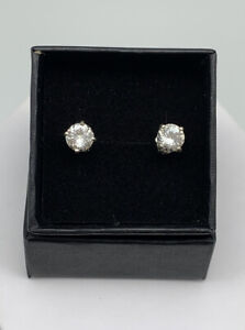Faceted Round Herkimer Diamond & Sterling Silver Stud Earrings, 6mm, 1.52ct
