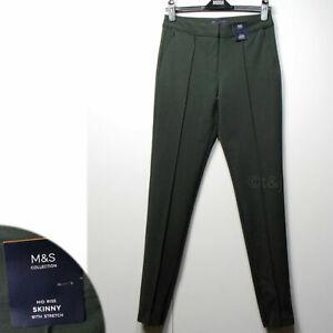 M&S Mid Rise SKINNY Zip Ankle TROUSERS / TREGGINGS ~ 12 Long ~ KHAKI (rrp £35)