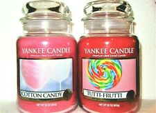 "Set Of 2 Yankee Candle ""Cotton Candy & Tutti Frutti"" Large 22 oz~White Label~New"