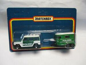 Matchbox Macau Two Pack Mercedes G Wagon & Pony Trailer- Polizei- green, carded