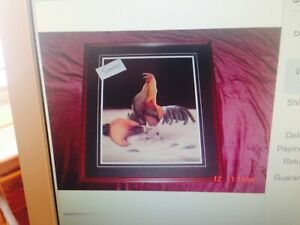 2 Fighting Gamecock, Rooster, Chicken Art prints called Winner and Gettin Ready.
